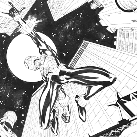 inked drawing of Spiderman leaping in a cityscape