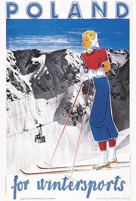 Image description: poster of woman skiing. Text reads: Poland for winter sports